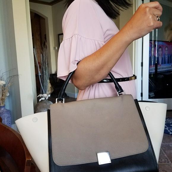 Celine Handbags - Authentic CELINE Velluto Calfskin Suede Medium Tri